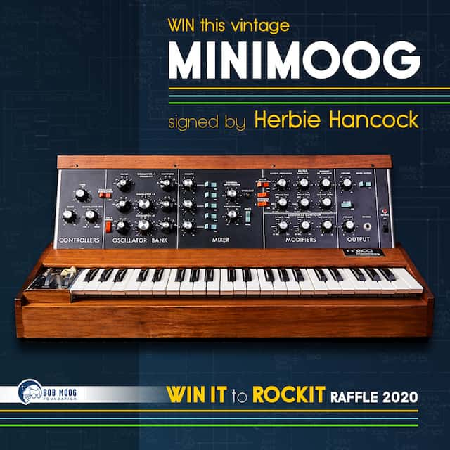 Bob Moog Foundation Announces Raffle for Vintage Minimoog Synthesizer Signed By Herbie Hancock