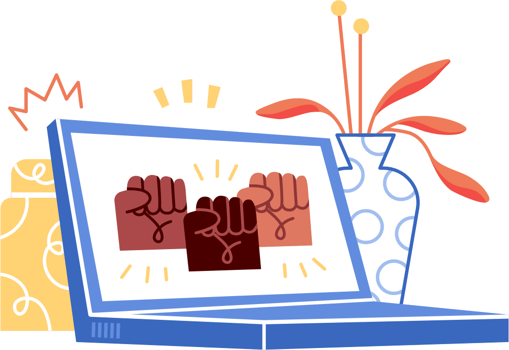 Illustration of an open laptop with the screen showing three fists of different skin tones.