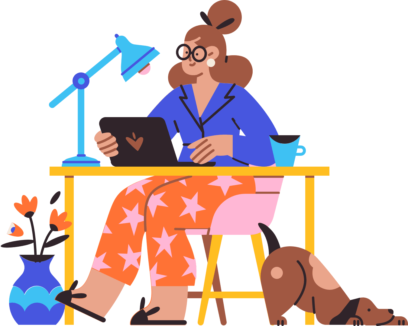 Illustration of person sitting at a desk with an open laptop and a dog on the floor
