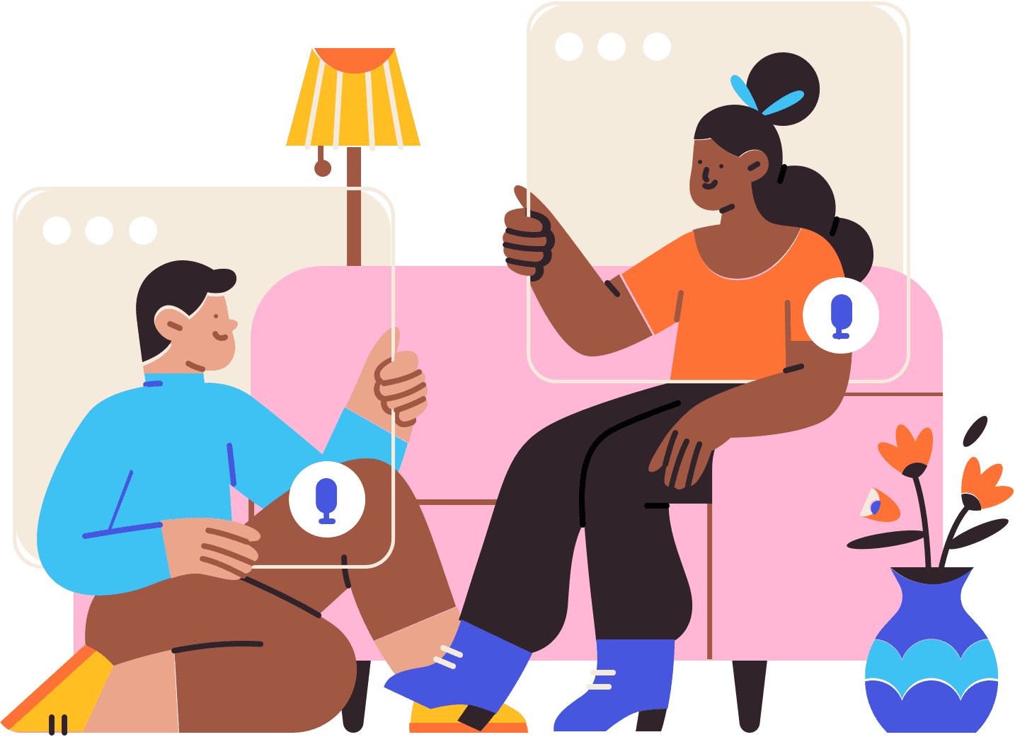 Illustration of two people sitting on and by a couch holding separate imaginary video call windows in front of themselves.