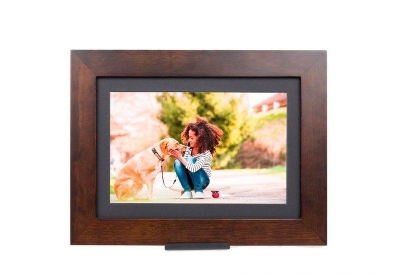 brown wood WiFi enabled picture frame