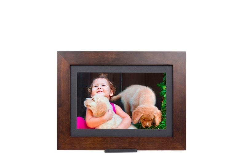 brown digital picture frame with black matte